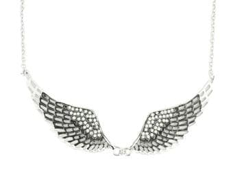 Black Painted Winged Necklace White Imitation Crystals