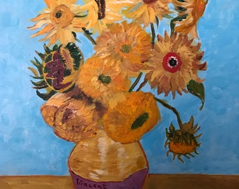 Handmade Acrylic Painting On Stretched Canvas 16x20, Sunflowers, Vase, Van Gogh Inspired, Wall Art, Home Decor, Gift Idea