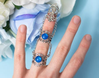 Siren claw, Fantasy ring claw with two rings, filigree and chains, Blue glitter gem, Gift for her, St. Valentines gift