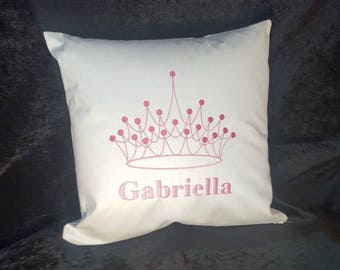 Personalised Embroidered Princess  Crown Cushions with name, for Girls.