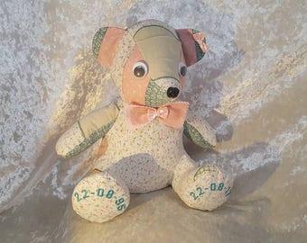 Keepsake memory bear, Keepsake bear, Memory bear, Bear keepsake, Keepsake memory, Embroidered bear, Memory Teddy Bear, 12  inches tall