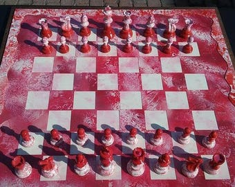 Beautiful hand-made Chess board (with pieces)