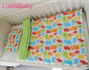 Blanket Minky Bebe Couverture plaid plus coussin lit bebe baby éléphant vert epais elephant duce