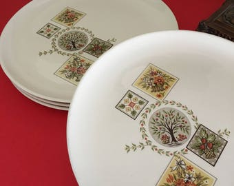 Brocatelle (Ever You) set of 4 dinner plates, basket and tree pattern plates, Taylor, Smith & Taylor plates, red and green and tan plates