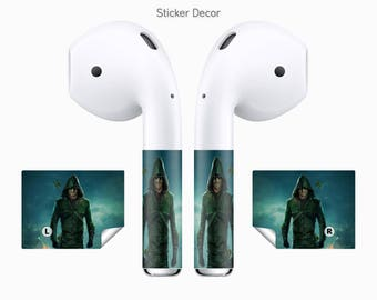 AirPods Stickers Green Arrow, DC, Comics, 2-Sets, Wraps, Skin, Cover, Decal