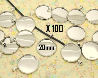 100 x pendant + bail silver metal support round cabochon 20 mm