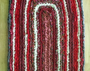 crocheted rag rug red rag rug up cycled rag rug - Rag Rugs