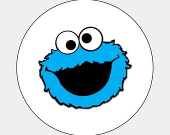 "48 Cute Cookie Monster Envelope Seals Labels Stickers Invites Birthday 1.2""Round"