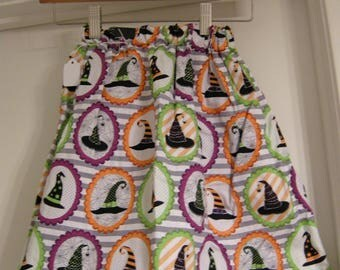 Reversible Halloween Witches Hat skirt and Striped Halloween colors size US 7 girls with ribbon detail trim