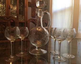 Vintage Handblown Etched Decanter with Stopper and 5 Stemmed Glasses