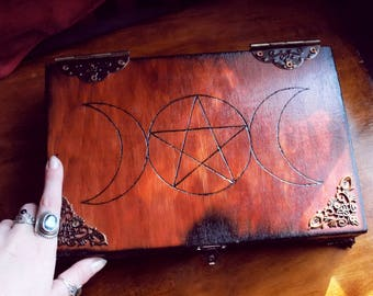 Triple moon wood handmade box witch wicca magic box for tarot crystals