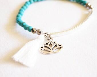 Elastic bracelet Bohemian tassel and lotus beads Crystal Bohemian, hippie chic