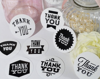 Set of 9 multi screen printed Thank You stickers