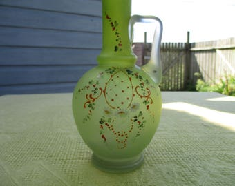 Victorian green milky glass hand painted single bud vase