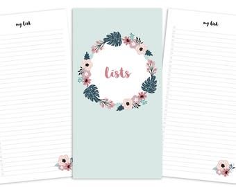 Standard Lists Pages Printable Insert - TN - Spring Blooms