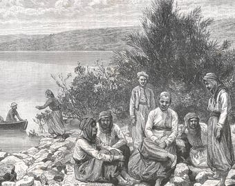 Our Team in Ain Tabigah, Palestine 1882 - Old Antique Vintage Engraving Art Print - Men, Woman, Immigrant, Bushes, River, Dinghy, Sail