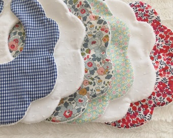 Set of 6 bibs + 1 hair clip (only)