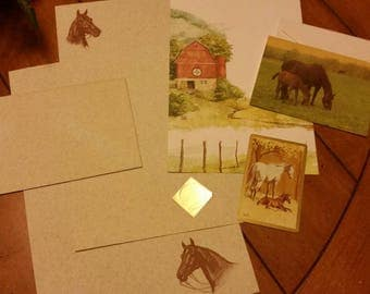 Vintage Stationery Collection ~ Horse and Barn in Country