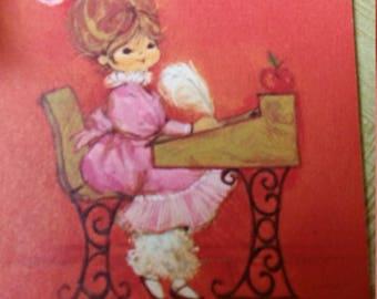 Vintage Greeting Card - Hallmark Teacher at Desk - Mary Hamilton? ?