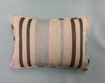 Stripe Print Pillow - Beige, Brown, Light Blue - Decorative, Couch, Living Room, Bed Pillow