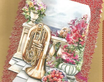 Card dance and music in 3d, made category musical instruments - birthday, concert, musician, conductor, theater, flowers