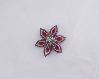 Anthracite grey satin kanzashi flowers / old rose made by hand