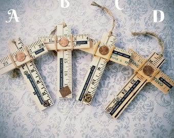 Yard Stick Cross Ornaments with Embellishments