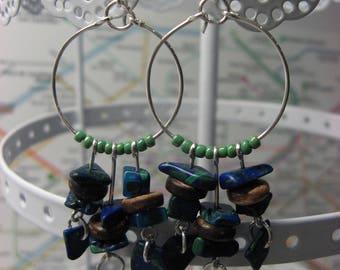 Hoop earrings Bohemian stone blue green plated silver