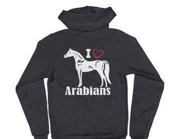 I Love Arabians Unisex Zip Hoodie