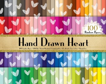 "100 Seamless Hand Drawn Heart Papers in 12"" x 12"", 300 Dpi Planner Paper, Commercial Use, Scrapbook Papers, Rainbow Paper"