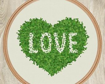 LOVE GREEN cross stitch pattern Green grass heart Eco friendly gift xStitch letter Modern wall decor