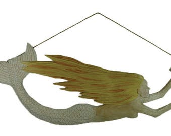 Wooden Mermaid with hanging string