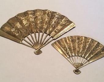 Vintage Brass Japanese Fans Wall Art