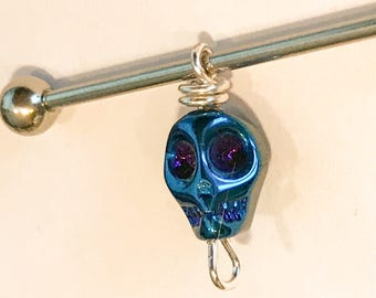 Glass crystal blue metallic skull charm on 14g silver or black anodized stainless steel industrial barbell body jewelry