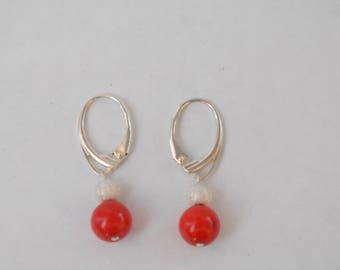 925 silver lever back dangle Red coral earrings