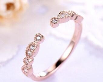 Rose Gold Open Wedding Band 14k 18k CZ Diamond 925 Sterling Silver Marquise Milgrain Gap Engagement Stacking Ring Bridal Matching Promise