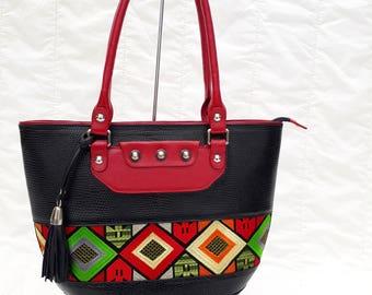 CHRISTMAS TRIBAL HANDBAG-Women leather bag