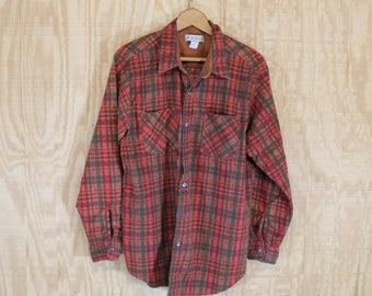 Vintage Soft Cotton Flannel Wine / Brown Tartan Plaid Button Down Shirt Medium M