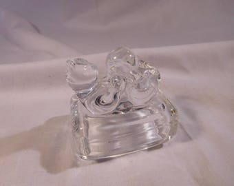 Avon Lead Crystal Paperweight - Cat on Back Playing With A Ball