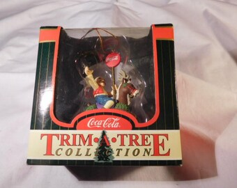 Coke Vintage Trim-A-Tree Elf-on-Reindeer Ornament