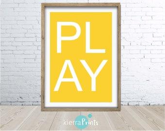 Play Print, Wall Art, Kids Poster, Home Decor, Geo, Modern, Bright, fun, Interior Design, Yellow, Digital Download, Trending, Minimalistic
