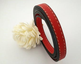 2 flat leather red stitching