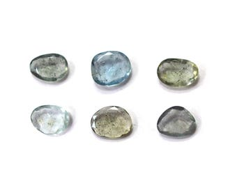 Moss Aquamarine Rose Cut Polki Both Side Faceted 7mm to 12mm (Approx) Price per 1 piece 100% Natural Loose Gemstone