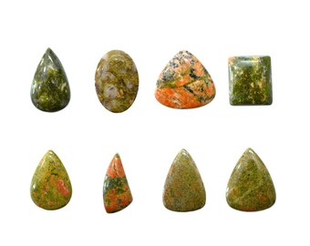 Unakite Cabochons Natural, Non Heated, Non Treated, Mix Sizes & Shapes Gemstones With Beautiful Inclusion At Wholesale Price