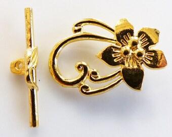 Fermoir Toggle  fleur 30x20 mm doré