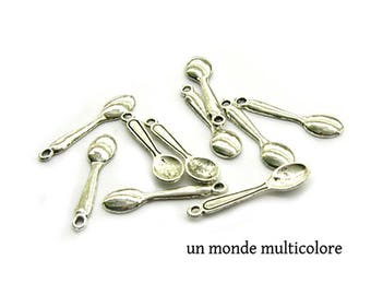 5 charms, Silverplated spoon size 24 x 6 mm