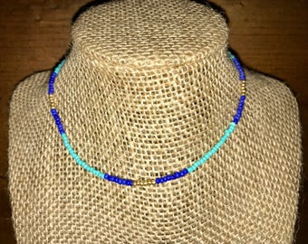 Turquoise, Blue, and Gold Choker