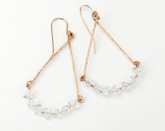 Clear quartz chandelier earrings