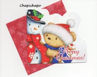 Merry Christmas * card + envelope bears snowman glitter Merry Christmas
