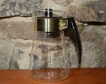 CORNING 6 cups Coffee Pot Carafe Atomic Starburst, Corning Gold Atomic Starburst Mid Century, Glassware, Vintage, Starbust on lid, Pyrex